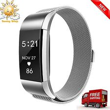 Replacement Magnetic Loop Strap Stainless Steel Wrist Band for Fitbit Charge 2