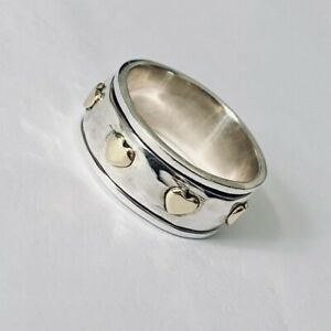 925 Sterling Silver Spinning Ring with Gold Hearts Worry Stress Ring  Size R 1/2