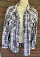 Levi's Flannel Shirt Large Pearl Snaps Long Sleeve Plaid Western Country Blouse