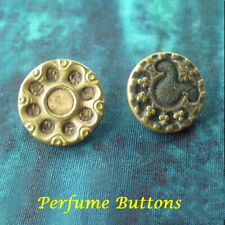 """2 DIFFERENT VICTORIAN PERFUME BUTTONS 9/16"""" TWEED FLOWER GREY"""