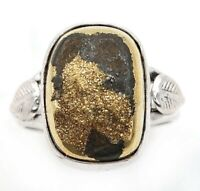 Natural Golden Pyrite Druzy 925 Sterling Silver Ring Jewelry Sz 8, ED32-3