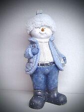 énorme XL céramique Noël Bonhomme de neige Enfant Bonnet en tissu 40 cm