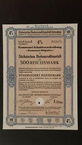 4 % Kommunal-SV Sächsische Bodenkreditanstalt 500 RM Sept. 1943 Dresden