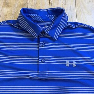 Under Armour Heat Gear Loose Large Blue Striped Polo Golf Shirt