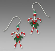 Crossed CANDY CANES with Holly and Rhinestone EARRINGS by Sienna Sky Christmas