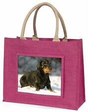 Long-Haired Dachshund Dog Large Pink Shopping Bag Christmas Present , AD-DU35BLP