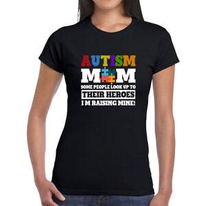AUTISM MUM HEROES KIDS CHILDREN SLOGAN WOMENS T-SHIRT GIFT PRESENT
