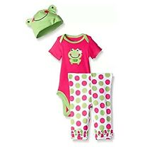 Gerber Girl 3-Pc Pink Frog Set Onesie, Pants & Cap Size 3/6M Baby Clothes Gift