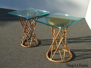Pair of McGuire Vintage French Country Bamboo End Tables w Glass Top Asis