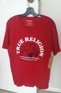 NWT True religion red buddha pick up men's t-shirt, size: L 100% cotton
