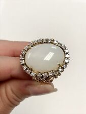 White Jade & Diamond 10K Yellow Gold Ring - Size 7.25