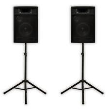"Acoustic Audio PA-380X Passive 8"" DJ Speakers & Stands PA Karaoke 3-Way Studio"