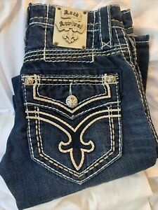 Women's Rock Revival Mikael Slim Straight Big Patch Blue Jeans Size 29 Stitching
