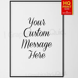 Personalised Handwriting Quote Typography Print Custom Wording Text DECOR POSTER