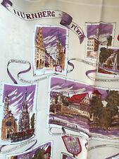 Vintage Scarf Nurnburg Furth 29 x 29 Purple Tan Germany Locations