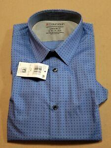 Calvin Klein Temp Regulation Extreme Slim Fit Blue Mens Button Up -15-15.5 32-33