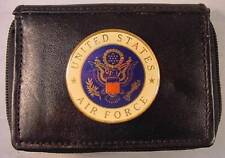 USAF US AIR FORCE GENUINE BLACK LEATHER 2 ZIPPER OUTSIDE ID WALLET NEW