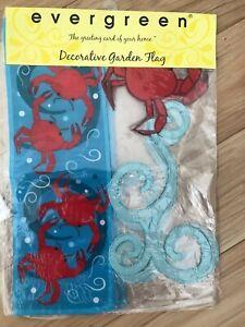Crab Nautical / Coastal / Beach Whimsical Welcome Evergreen Garden Flag