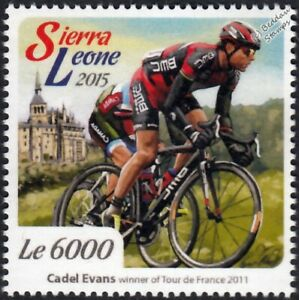 CADEL EVANS 2011 Tour de France Winner Bicycle/Cycling Stamp (2015 Sierra Leone)