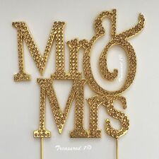 # Large MR & MRS Metal Cake Pick Dec Topper GOLD Rhinestone Diamante GEMS LOVE