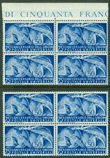 ITALY : 1949. Sassone #599. 2 Blocks of 4. Perfect gum. VF Mint NH. Catalog €600