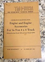 TM 9 -1803A MB/GPW WWII Jeep Engine and Engine Assc War Department 1944 Original