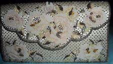 Iiyama Tokyo Japan Vintage 60s Purse Hand Bag Beige Beads Pearls Rose Handmade