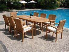 """Wave 9-pc Outdoor Teak Dining: 94"""" Oval Extension Table, 8 Stacking Arm Chairs"""