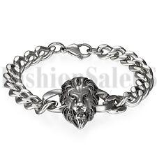 Men's Black Silver Tone Stainless Steel Lion Biker Chain Link Bracelet Bangle