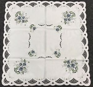 """Elegantlinen Embroidered Cutwork Quality Fabric Embroidery Gray Rose 42x42"""" SQ"""