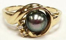 14k White Gold FIne Black Cultured Pearl 6.5mm 2 Diamonds Size 7 Ring 3 Grams