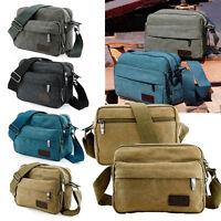 Men Retro Vintage Canvas Leather Satchel School Military Shoulder Messenger Bag