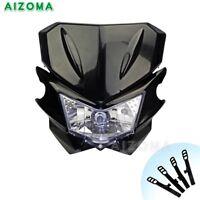 Motorcycle Dirt Bike Motocross Supermoto Universal Headlight Lamp Fairing Black