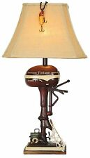 """Vintage Style Fishing Boat Outboard Motor Table Lamp Nautical Lake Rustic 32""""H"""