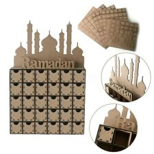 Wooden MDF Eid Mubarak Ramadan Calendar Sign 30 Draws Decoration Muslim