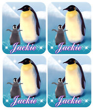 "4 Penguin Baby Decal Bumper Stickers Personalize Names-Text Any Colors 2.5""x 3"""