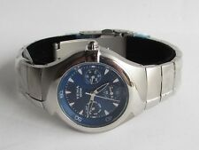 YEMA Triple Date Watch Stainless Case & Bracelet Blue Dial New