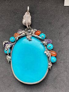 Vintage Tested Silver Huge Turquoise Carnelian Amethyst Navajo Pendant -60g