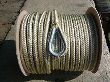 "New 1/2"" x 150' Double Braid Nylon Gold/White Anchor Line"