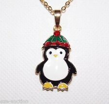 Christmas Gift Gold tone Cute Penguin Pendant Necklaces chain