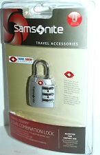 SAMSONITE TRAVEL SENTRY APPROVED 3 DIAL COMBINATION LOCK SILVER