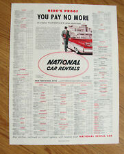 1958 National Car Rental Ad      Ford Fairlane 500