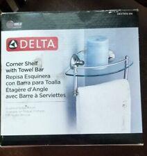 """Delta Corner Glass Shelf With Towel Bar 8"""" Brushed Nickel Finish NIB HEXTN16-BN"""