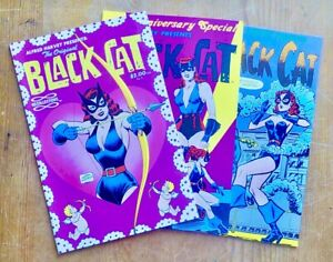 3 Issues of Black Cat Comic Books, 1989 Reprints Of Golden Age Superhero Stories