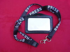 PRESS Black/White Neck Lanyard+Police Warrant Card Style ID Pass/Badge Holder L