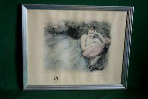 Gravure Henri ROYER Portrait de femme art déco