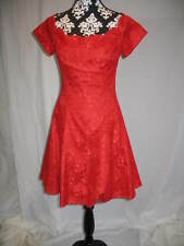 Red Lace Party Dress Valentine Clubbing Gown Steam Punk Style Women's Sz Small