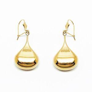 Genuine 9ct Yellow Gold Medium Liquid Drop Blob Earrings