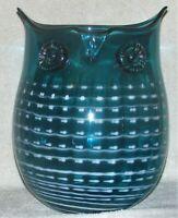 Mid-Century Modern Large Blown Glass Owl Vase Teal & White