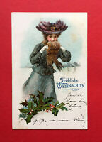 Glückwunsch Prägedruck Litho AK WEIHNACHTEN 1905 Frau im Mantel mit Muff ( 55772